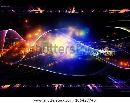 Backdrop of  abstract sine waves and design elements to complement your design on the subject of modern computing, virtual reality and signal processing