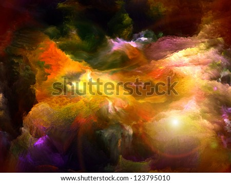 Backdrop of dreamy forms and colors on the subject of dream, imagination, fantasy and abstract art