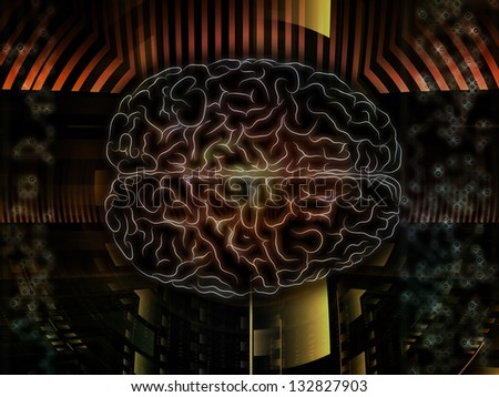 Backdrop of  lines of human brain, fractal grids and technology related symbols to complement your design on the subject of artificial intelligence, science, education and technology
