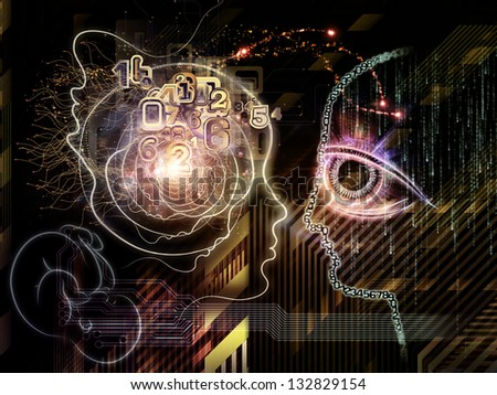 Backdrop of lines of human head, fractal grids and technology related symbols on the subject of artificial intelligence, science, education and technology