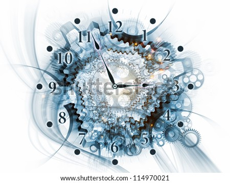 Backdrop on the subject of scheduling, temporal and time related processes, deadlines, progress, past, present and future composed of gears, clock elements, dials and dynamic swirly lines
