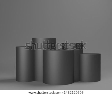 Backdrop With Black Cylindrical Displays. Empty Platorm Scence Studio Or Pedestal For Display. 3D rendering