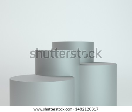 Backdrop With Cylindrical Displays. Empty Platorm Scence Studio Or Pedestal For Display. 3D rendering