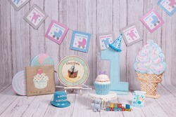 Backdrops for celebration of 1 year baby, boy & girl, smash the cake photo session