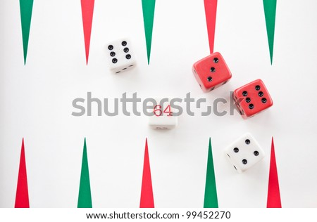 Backgammon board game with  dice