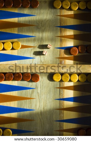 Backgammon Board with a pair of six's thrown on the dice.