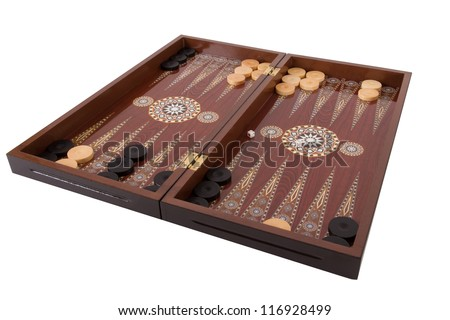 Backgammon set with table, chips and dice at the beginning, isolated on white background.