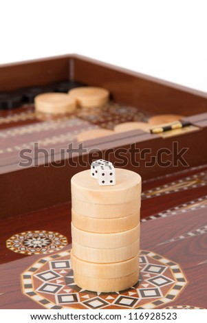 Backgammon table, chips and dices with double six, isolated on white.