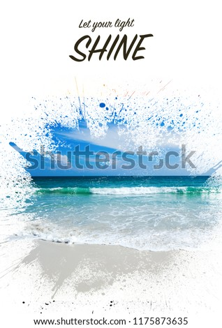 Background and design, with a splash effect, with a photograph of a beautiful sandy beach and a place for text, travel and vacation concept. Suitable for book covers, advertisements, brochures, flyers