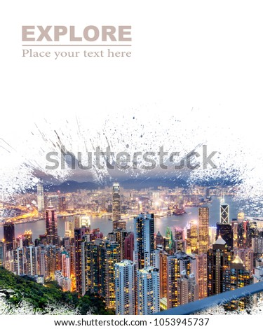 Background and design, with a splash effect, with a photograph of the city with skyscrapers and space for text, travel and leisure concept. Suitable for book covers, advertisements, brochures, flyers #1053945737