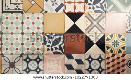 Background and texture mosaic with Ancient tile pattern #1022791303
