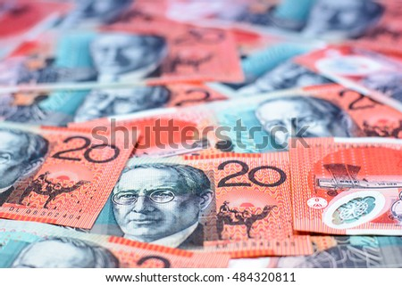 Background and texture of twenty australia dollars currency,Focus on eye of banknotes