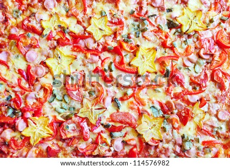 Background big vegetable pizza with sausage