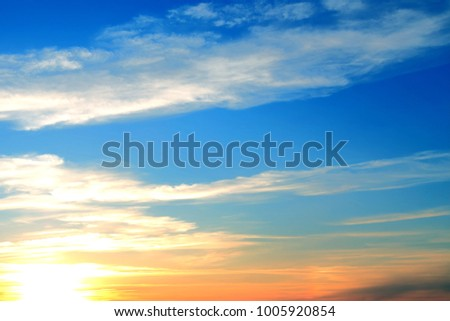 Background blue sky and clouds at sunset. #1005920854