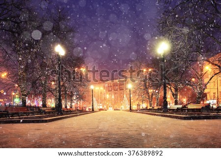 background blur city evening snow