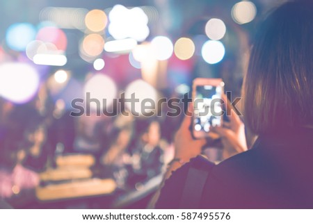 background blurred bokeh. Lights Ceremonies. Light the lights at night In celebrations.A lot of people. take photos