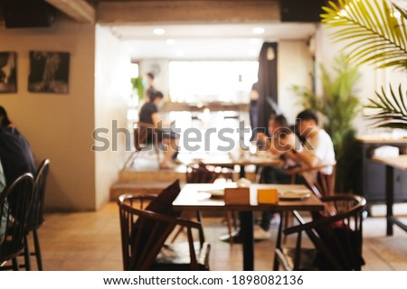 Background blurred couter coffee bar Resturant cafe, cafe blurred background with bokeh Photo stock ©