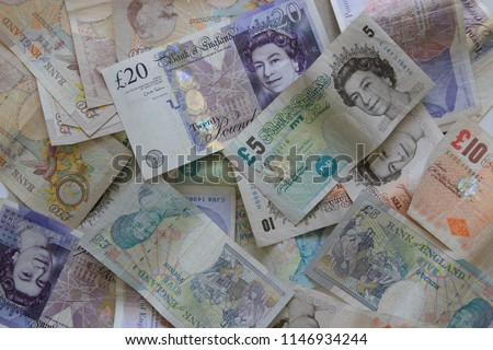 Background British currency conceptualised by a close up of the notes of the United Kingdom