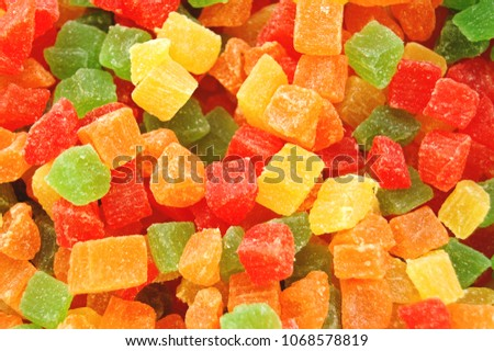 Background candied colorful  fruit. Pineapple bits. Foto d'archivio ©