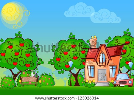 background cartoon house surrounded by the trees #123026014