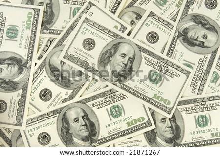 background close up of  one hundred dollars bills