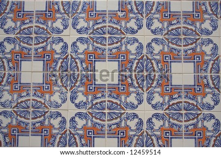 Background: Close-up of typical portuguese tiles (azulejos).