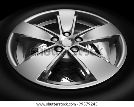 Background closeup automotive wheel with alloy metallic rim