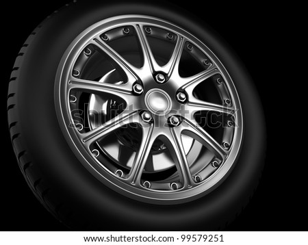 Background closeup automotive wheel with alloy metallic rim