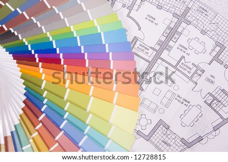 background colorful palette over a blueprint plan