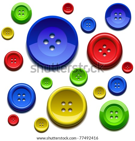 Background composed by sewing color buttons