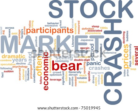 Background concept word cloud illustration of stock market crash