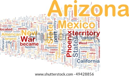 Background concept wordcloud illustration of Arizona American state