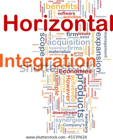 Background concept wordcloud illustration of business horizontal integration