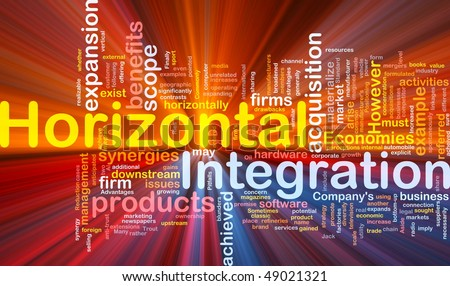 Background concept wordcloud illustration of business horizontal integration glowing light