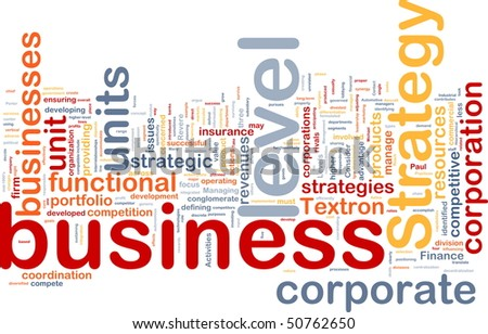Background concept wordcloud illustration of business level strategy