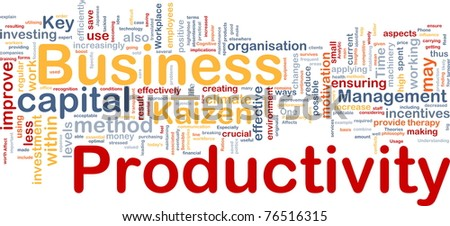 Background concept wordcloud illustration of business productivity