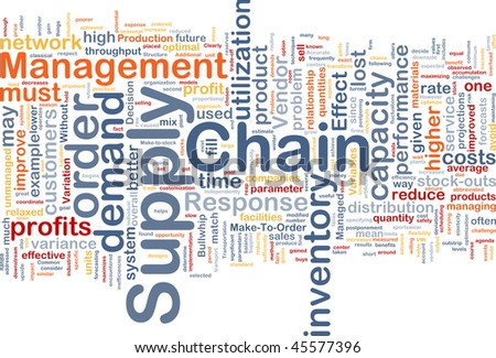 Background concept wordcloud illustration of business supply chain