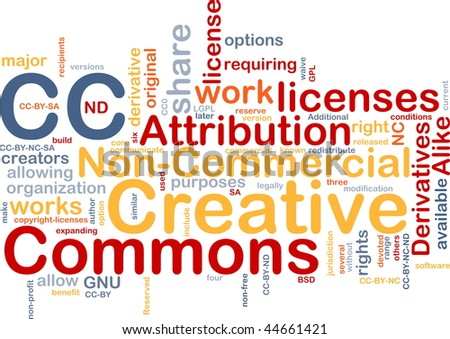 Background concept wordcloud illustration of creative commons license