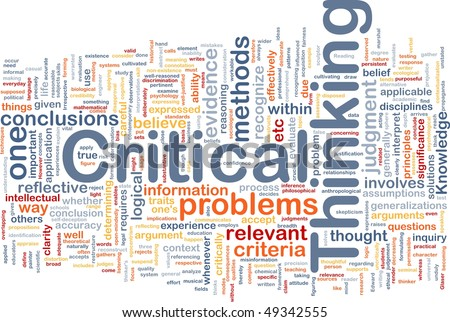 Background concept wordcloud illustration of critical thinking strategy