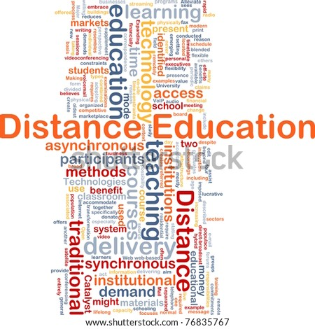 Background concept wordcloud illustration of distance education