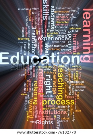 Background concept wordcloud illustration of education glowing light - stock photo