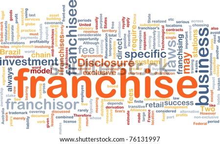 Background concept wordcloud illustration of franchise