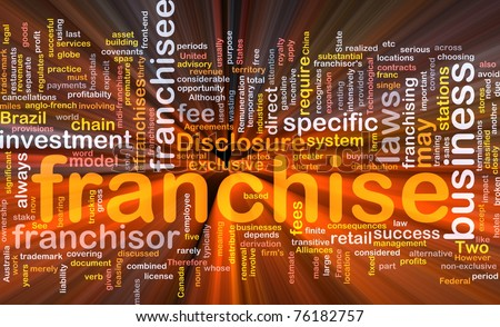 Background concept wordcloud illustration of franchise glowing light