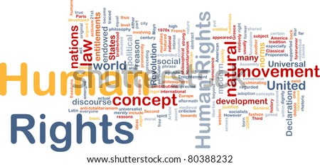 Background concept wordcloud illustration of human rights