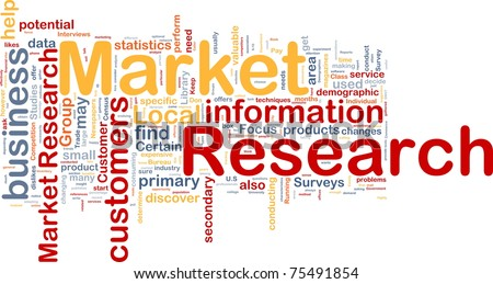 Background concept wordcloud illustration of market research
