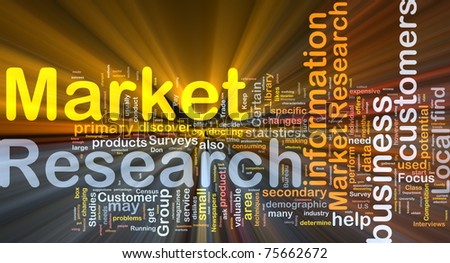 Background concept wordcloud illustration of market research glowing light