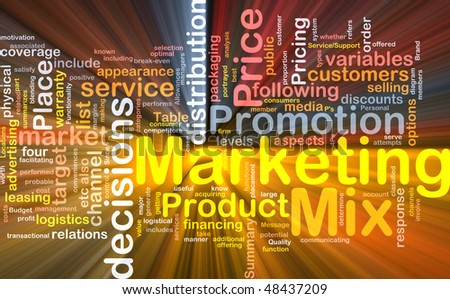 Background concept wordcloud illustration of marketing mix strategy glowing light