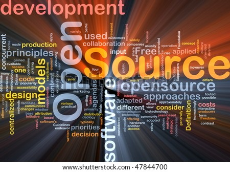 Background concept wordcloud illustration of open source license glowing light