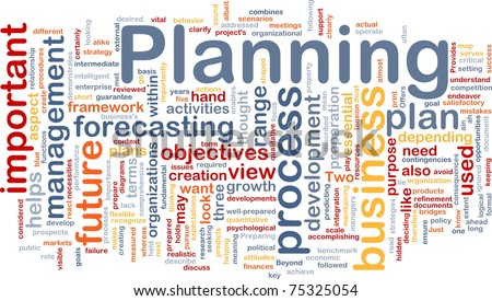 Background concept wordcloud illustration of planning