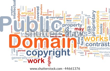 Background concept wordcloud illustration of public domain work